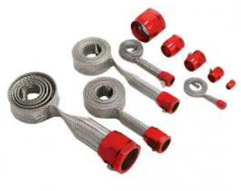 Full Size Chevy Hose Cover Kit, Stainless Steel, Universal, With Red Clamps 1958-1972