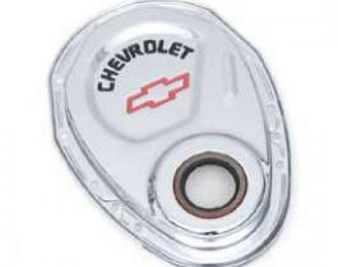 Full Size Chevy Timing Chain Cover, Small Block, Chrome, With Chevrolet Script & Bowtie Logo, 1958-1972