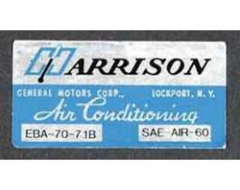 Full Size Chevy Air Conditioning Evaporation Decal, Harrison, 1971