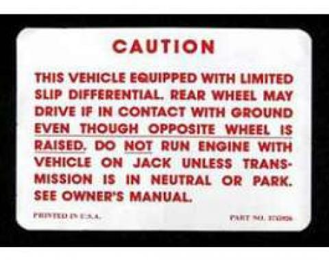 Full Size Chevy Positraction Warning Decal, 1964-1972