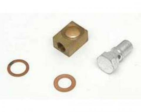 Full Size Chevy Brake Master Cylinder Brass Block & Banjo Bolt Kit, 1958