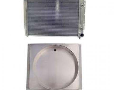 Full Size Chevy Radiator & Engine Driven Fan Shroud, Aluminum Crossflow, Passenger Side Top Outlet, Northern, 1959-1970