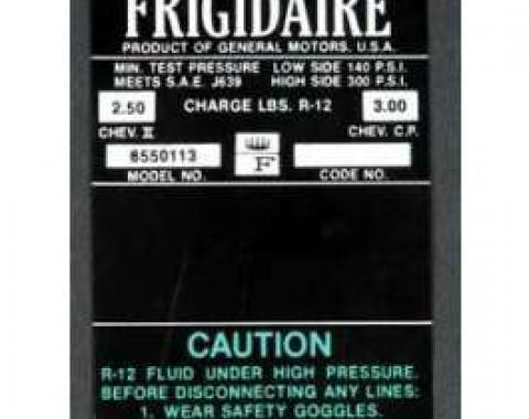Full Size Chevy Air Conditioning Compressor Decal, Frigidaire, 1966