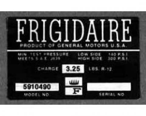 Full Size Chevy Air Conditioning Compressor Decal, Frigidaire, 1965