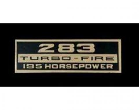 Full Size Chevy Valve Cover Decal, Turbo-Fire, 283ci/195hp, 1964-1966
