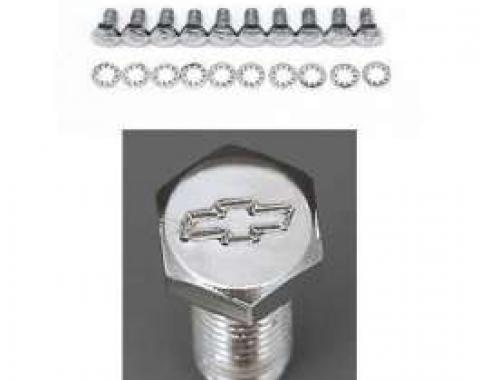 Full Size Chevy Bowtie Timing Chain Cover Bolt Set, Small Block, Chrome, 1958-1972