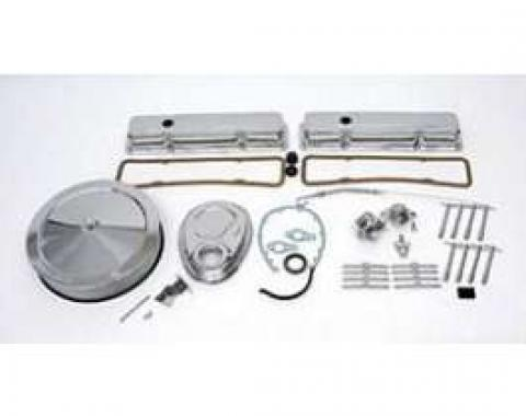 Full Size Chevy Engine Dress-Up Kit, Chrome, Complete, Small Block, 1958-1972