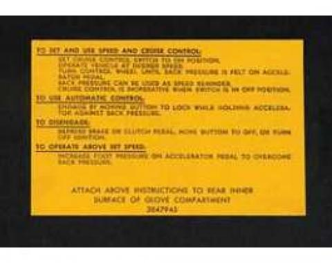 Full Size Chevy Cruise Control Instructions Decal, 1962-1966