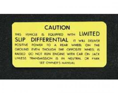 Full Size Chevy GM Canada Limited Slip Differential Decal, 1971-1973