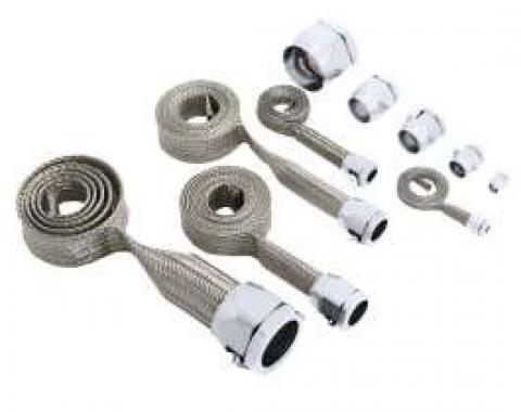 Full Size Chevy Hose Cover Kit, Stainless Steel, Universal, With Stainless Steel Clamps 1958-1972