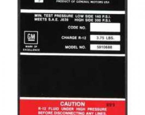 Full Size Chevy Air Conditioning Compressor Decal, Frigidaire, 1969