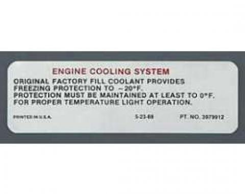 Full Size Chevy Engine Cooling System Warning Decal, 1970-1971