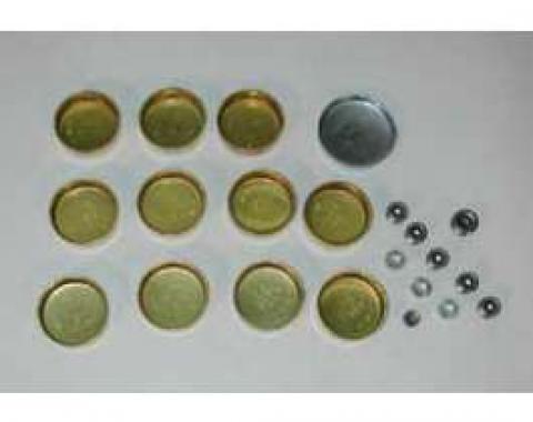 Full Size Chevy Freeze Plug Set, Brass, 348ci & 409ci, 1958-1965