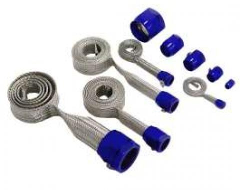 Full Size Chevy Hose Cover Kit, Stainless Steel, Universal, With Blue Clamps 1958-1972