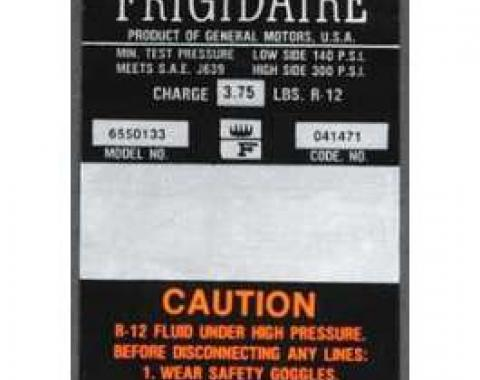 Full Size Chevy Air Conditioning Compressor Decal, Frigidaire, 1967