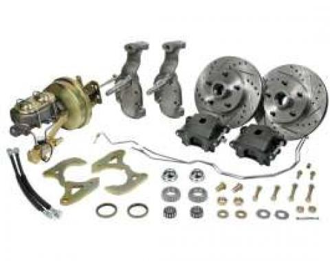 Full Size Chevy Front Drop Spindle Power Disc Brake Kit, 1958-1964