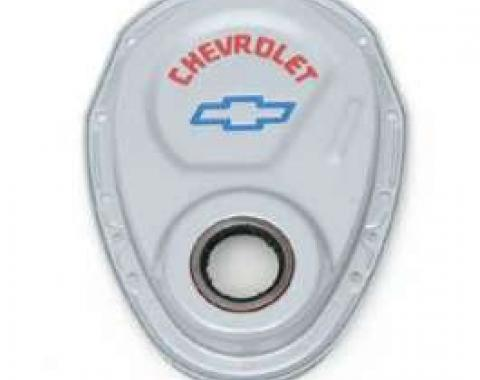 Full Size Chevy Timing Chain Cover, Small Block, Gray, With Chevrolet Script & Bowtie Logo, 1958-1972