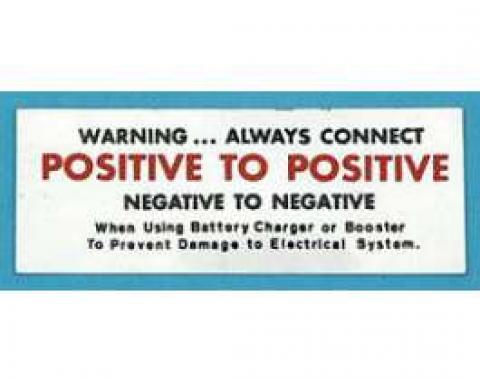 Full Size Chevy Battery Warning Decal, 1964-1966
