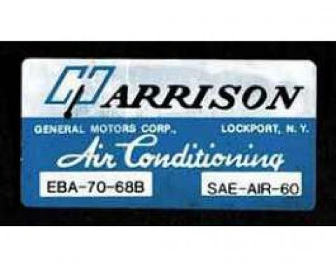 Full Size Chevy Air Conditioning Evaporation Decal, Harrison, 1968