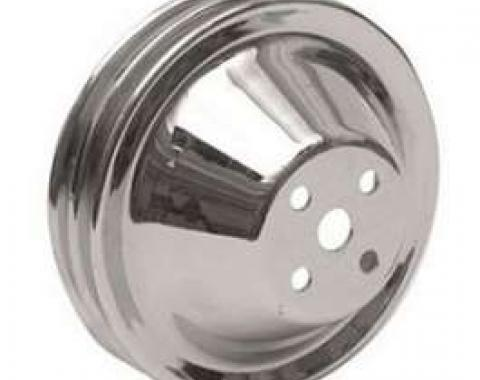 Full Size Chevy Water Pump Pulley, Double Groove, Small Block, Chrome, 1958-1968