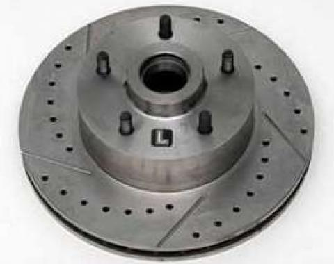 Full Size Chevy Front Disc Brake Rotor, Drilled, Slotted & Vented, Left, 1958-1967