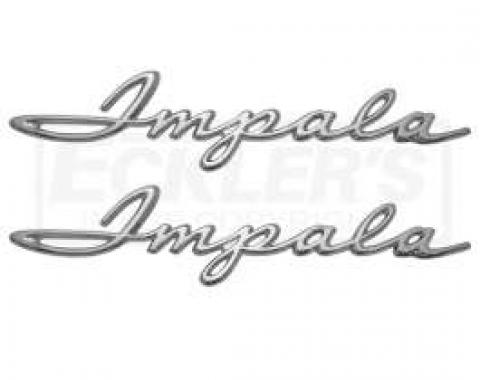 Full Size Chevy Quarter Panel Script Emblems, Impala, 1961