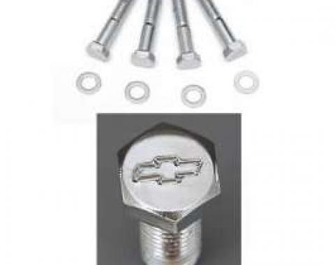 Full Size Chevy Bowtie Water Pump Bolt Set, With Long Water Pump, Chrome, Small Block, 1958-1972