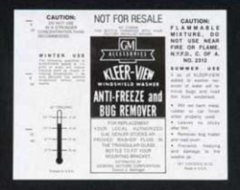 Full Size Chevy Windshield Washer Filler Jar Label, Kleer-View, 1961-1967