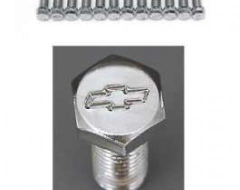Full Size Chevy Bowtie Header Bolt Set, Small Block, Chrome, 1958-1972