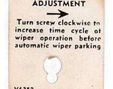Full Size Chevy Windshield Washer Adjustment Tag, 1958-1960