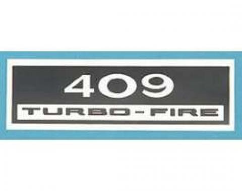 Full Size Chevy Valve Cover Decal, 409ci Turbo-Fire, 1961-1964